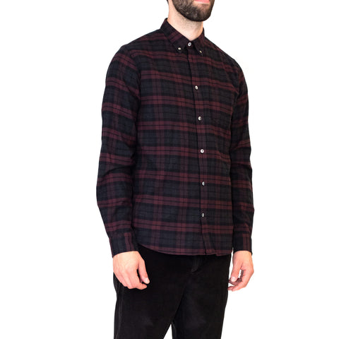Norse Projects Anton Brushed Flannel Check Eggplant Brown