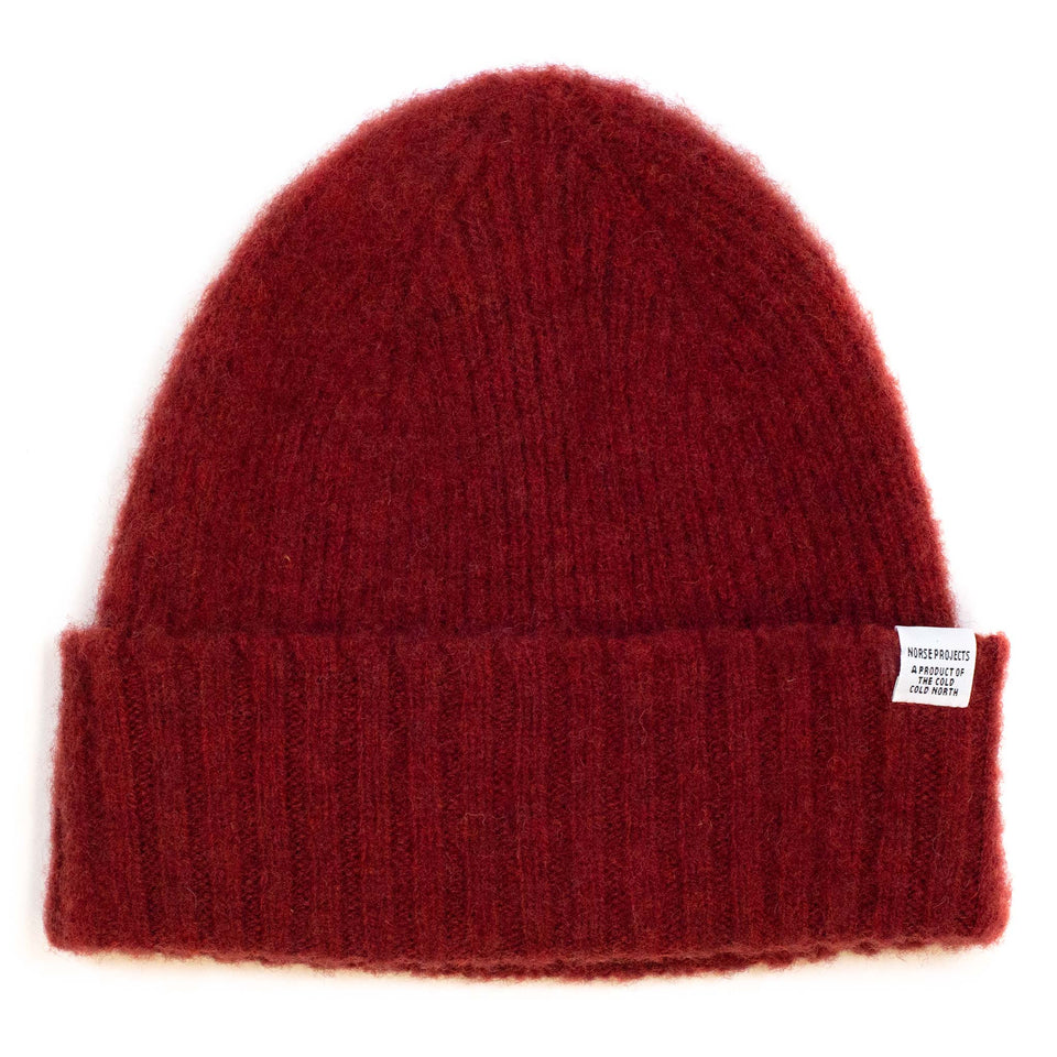 Norse Projects Brushed Lambswool Beanie Carmine Red