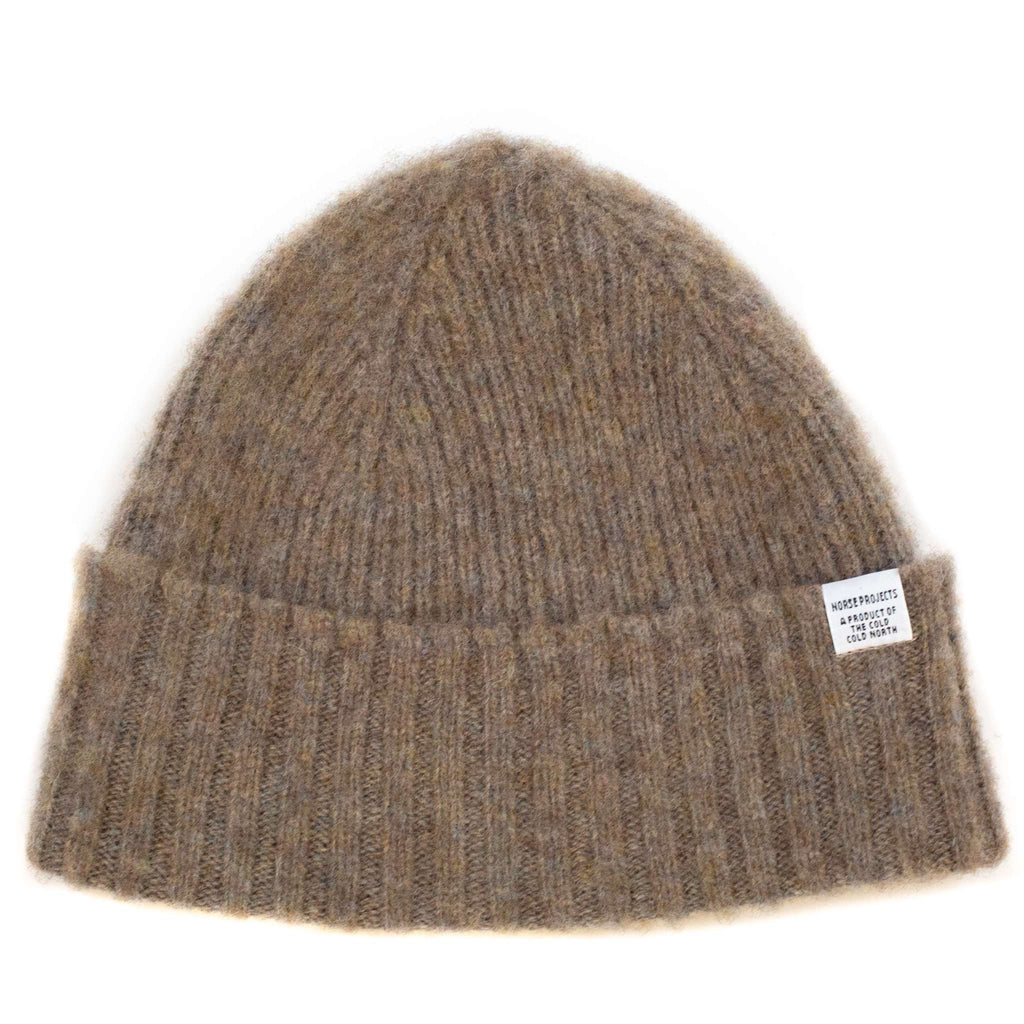 Norse Projects Brushed Lambswool Beanie Shale Stone