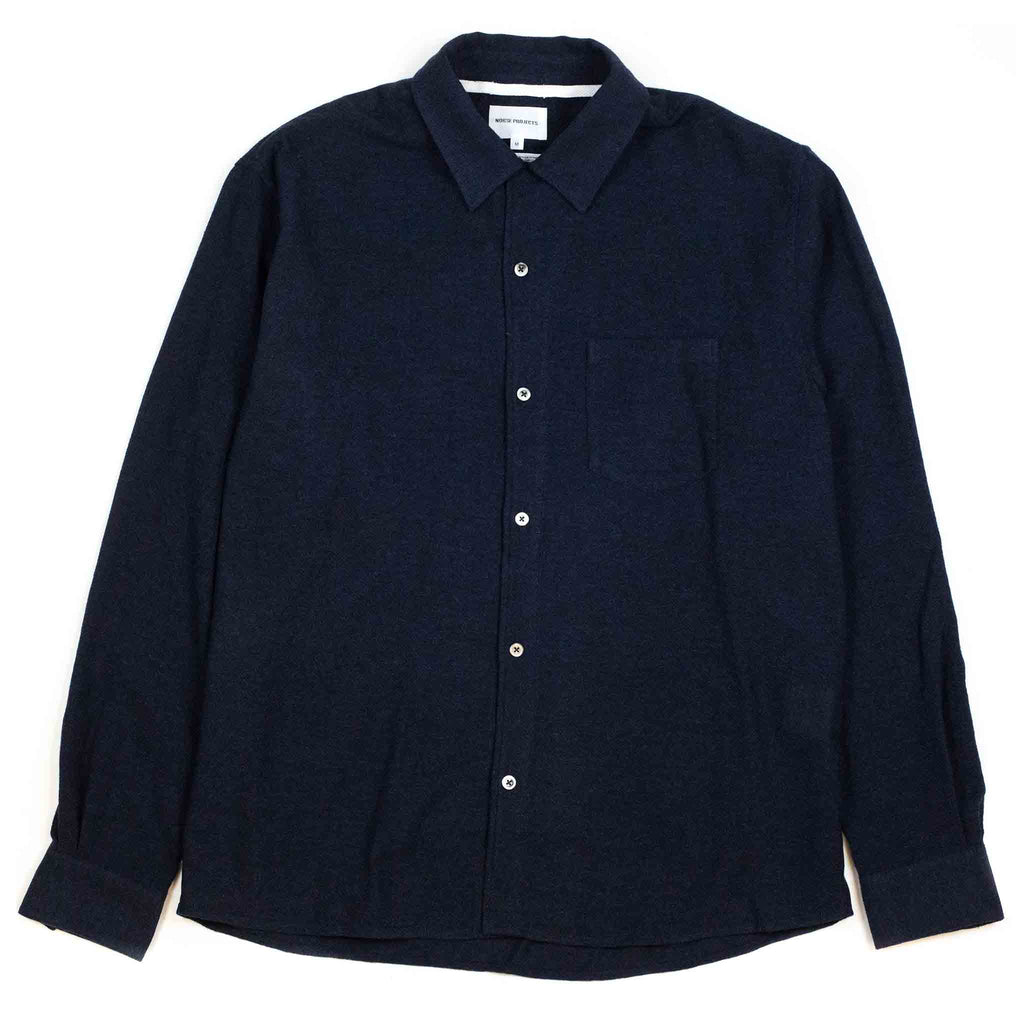 Norse Projects Carsten Light Wool Shirt Dark Navy