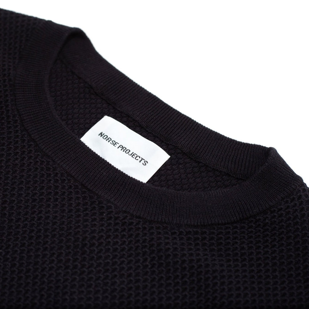 Norse Projects Sigfred Light Bubble Sweater Dark Navy Collar