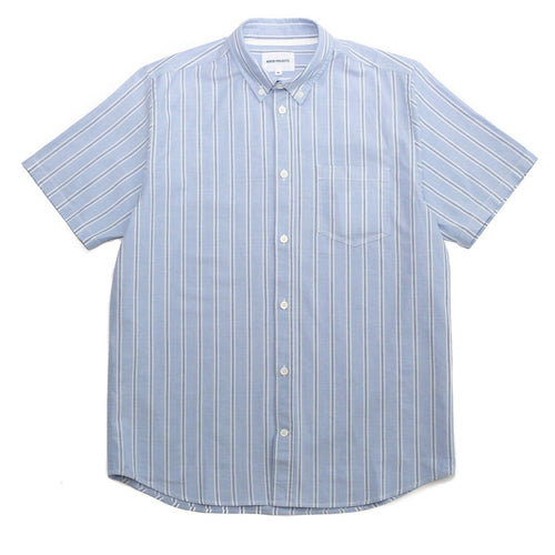 Norse Projects Theo Oxford SS Pale Blue Multi Stripe