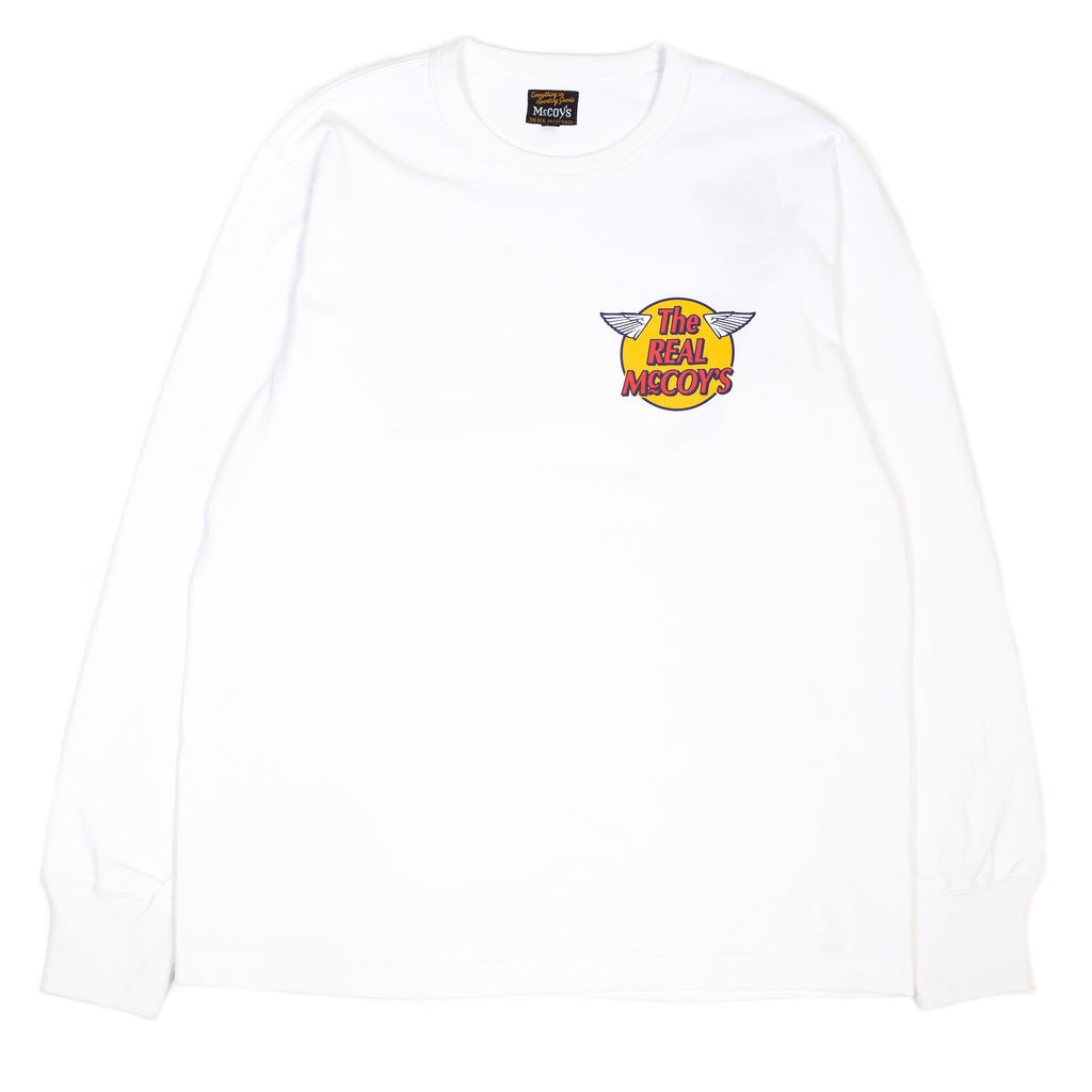The Real McCoy's MC20002 Logo Tee L/S White front