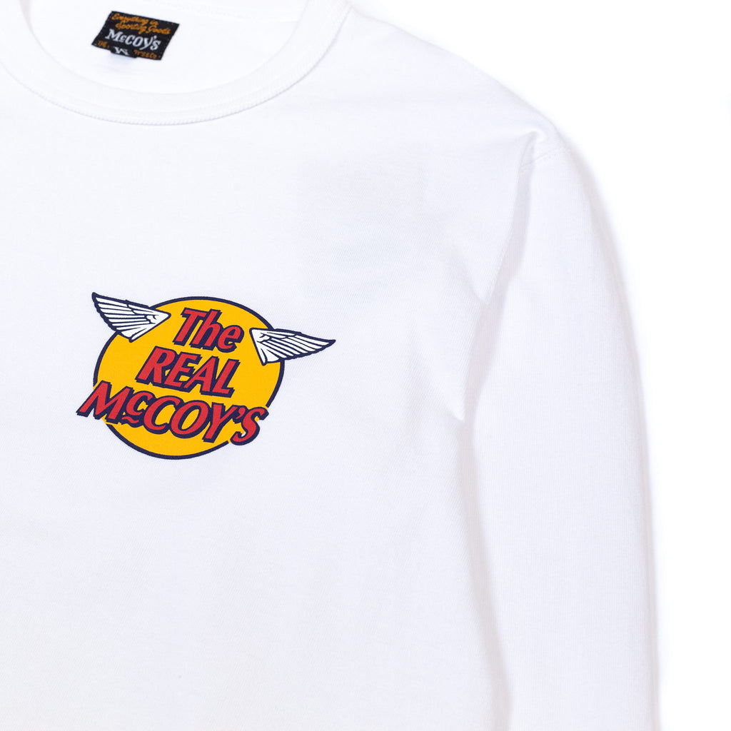 The Real McCoy's MC20002 Logo Tee L/S White logo