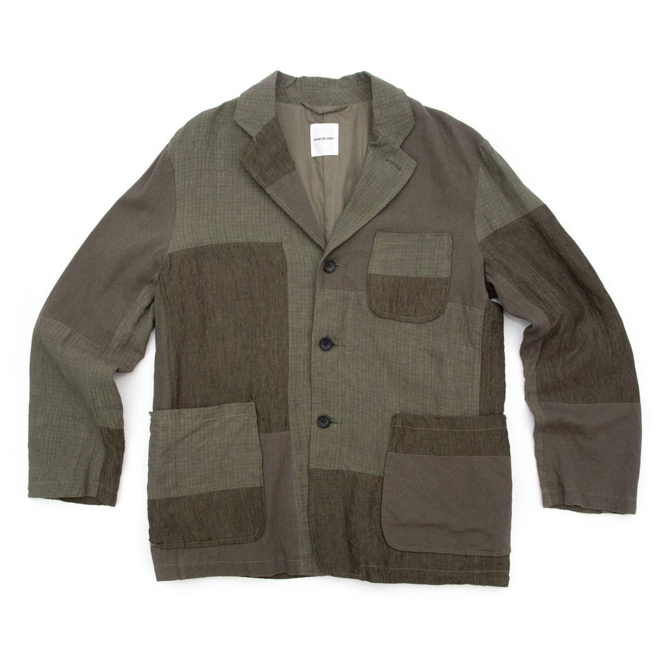 Sage de Cret Patchwork Tailored Jacket Khaki
