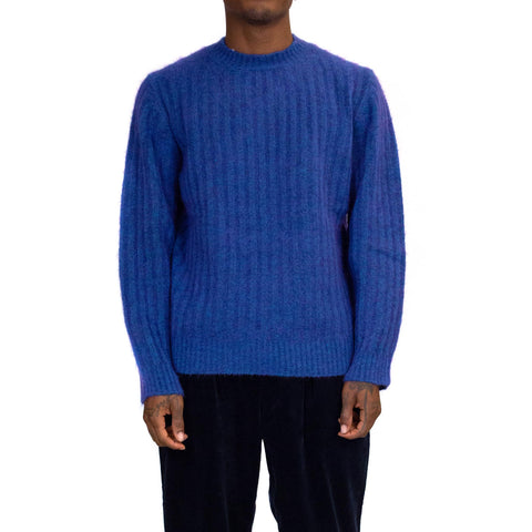 Schnayderman's Crewneck Seamless Rib Mohair Electric Blue