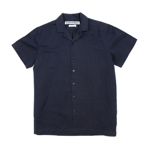Schnayderman's Shirt Notch SS Cotton Linen Dark Navy