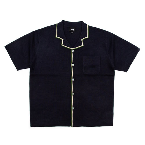 Stüssy Stripe Edge Knit Shirt Navy