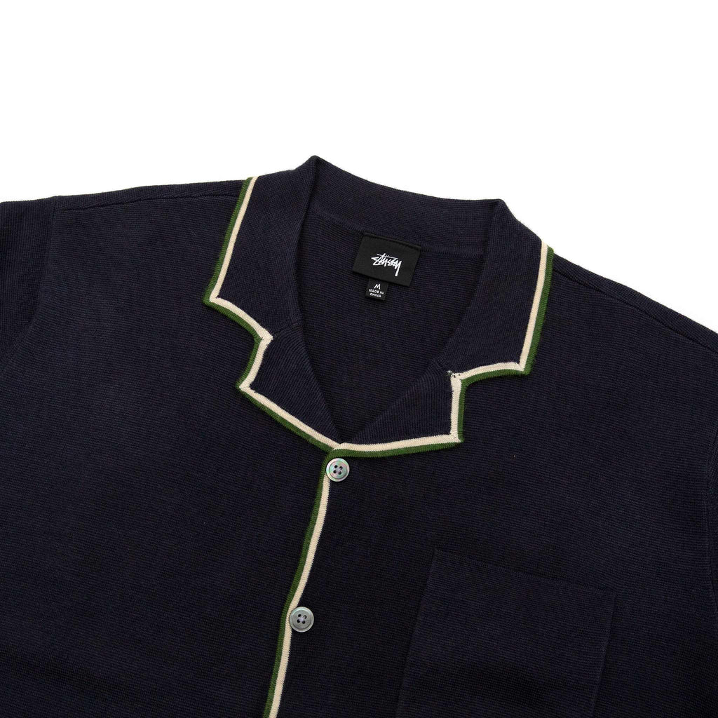 Stüssy Stripe Edge Knit Shirt Navy Collar