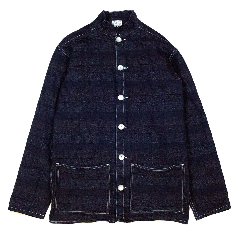 Tender 490 Floor Shirt Double Indigo & Linen Weaver's Blanket Stripe Rinse Washed Blue