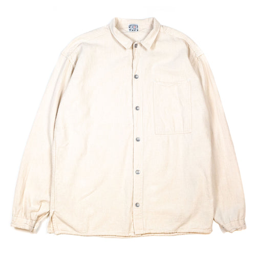 Tender 492 Long Sleeved Bench Shirt Tote Cloth Rinse Washed Ecru