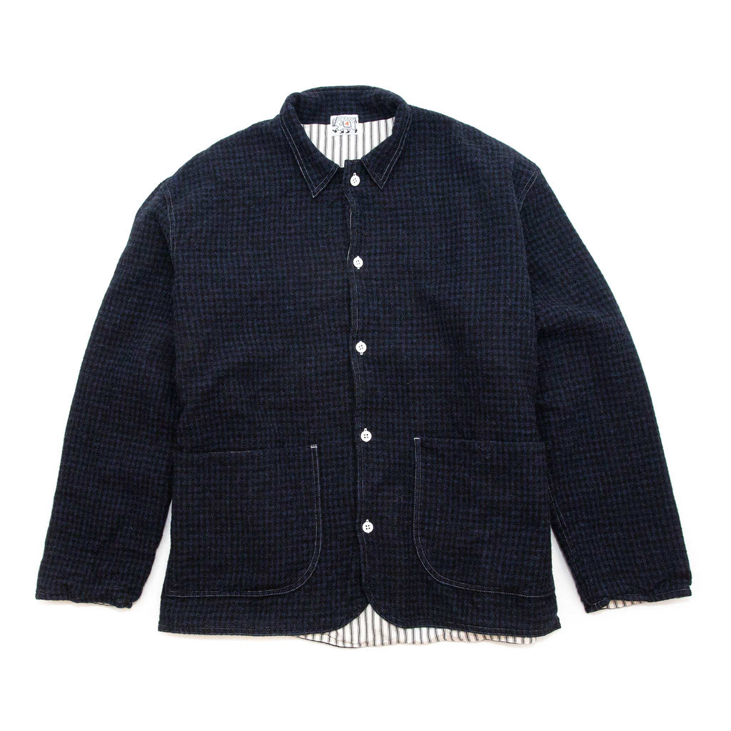 Tender WS922 Weaver's Stock Curve Front Jacket Cambrian Check Flannel Black/Blue