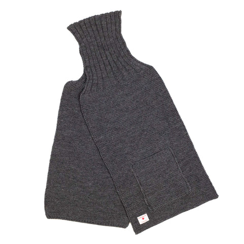 The Real McCoy's MA20102 Wool, Ribbed Muffler Grey