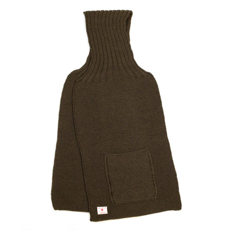 The Real McCoy's MA20102 Wool, Ribbed Muffler Olive