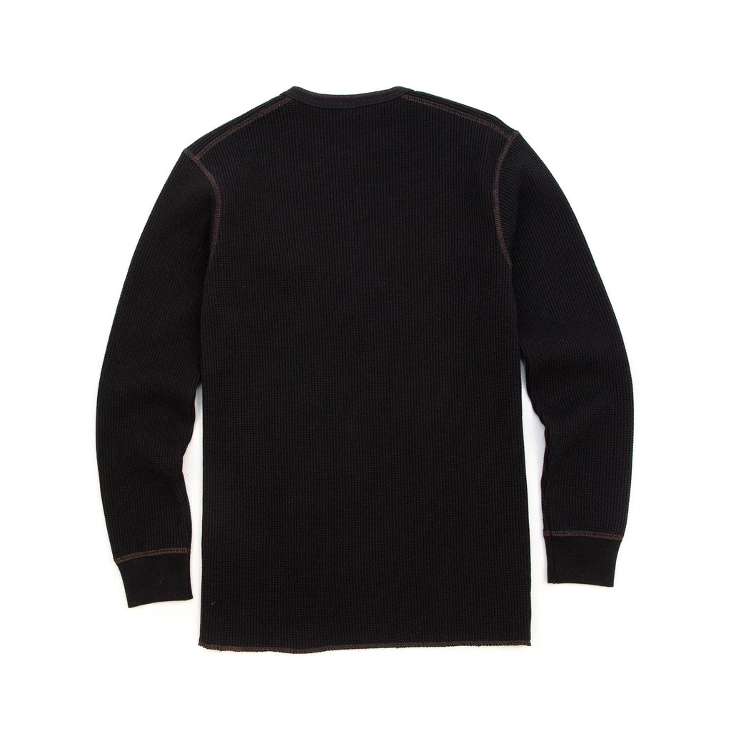 The Real McCoy's MC17117 Waffle Henley Shirt L/S Black