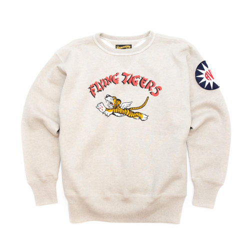 The Real McCoy's MC20103 Military Print Sweatshirt / Flying Tigers Oatmeal