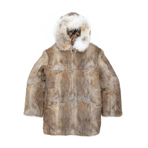 The Real McCoy's MJ20123 Yeti Hooded Fur Coat Brown