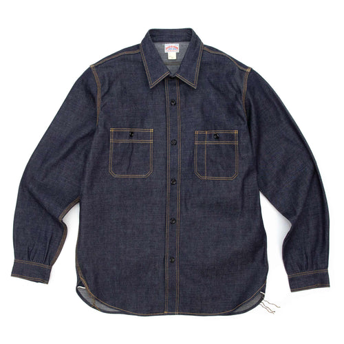 The Real McCoy's MS18101 8HU Denim Serviceman Shirt Indigo