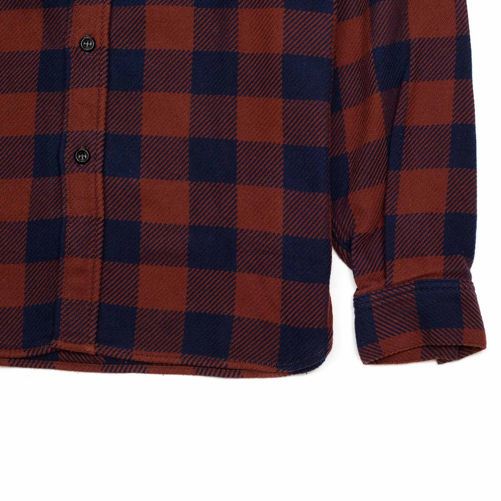 The Real McCoy's MS20101 8HU Buffalo Check Flannel Shirt Crimson/Navy