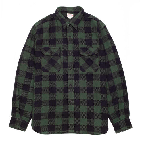The Real McCoy's MS20101 8HU Buffalo Check Flannel Shirt Forest/Black