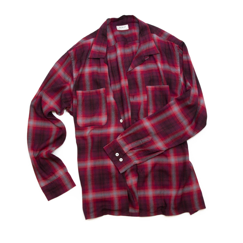The Real McCoy's MS20102 Shadow Check Rayon Shirt Crimson