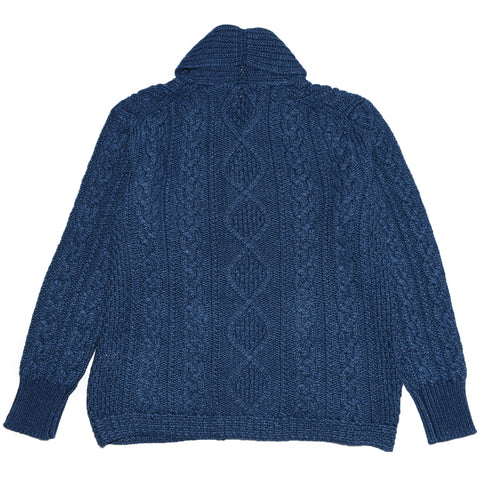 The-Real-McCoys-Indigo-Aran-Shawl-Collar-Cardigan-Front