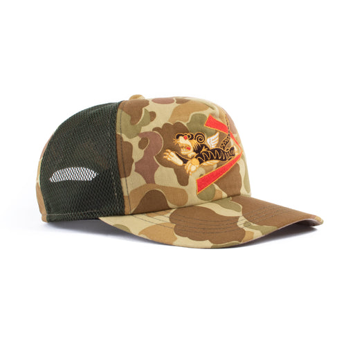 The Real McCoy's MA21006 Flying Tigers Camouflage Mesh Cap Green