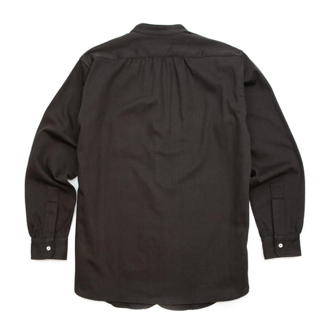 The Real McCoy's MS20107 Double Diamond Band Collar Sateen Shirt Black