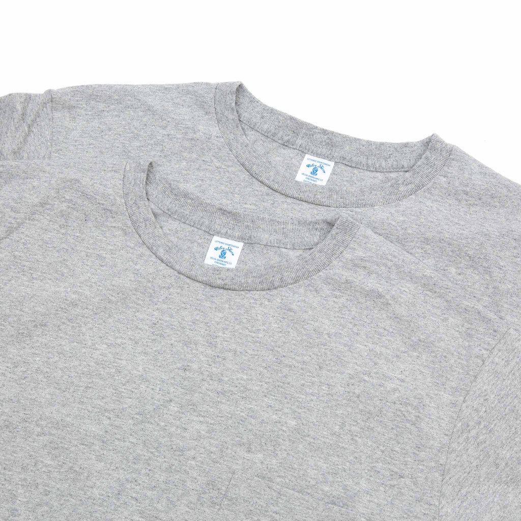 Velva Sheen Crew Pocket Tee Heather Grey - 2 Pack