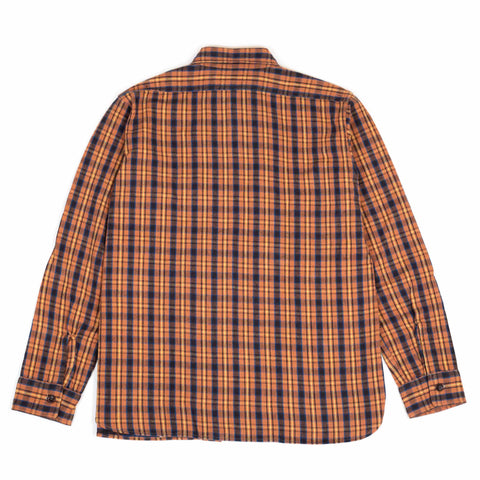 Warehouse Flannel Shirt With Chin Strap 3022 Salmon One Wash