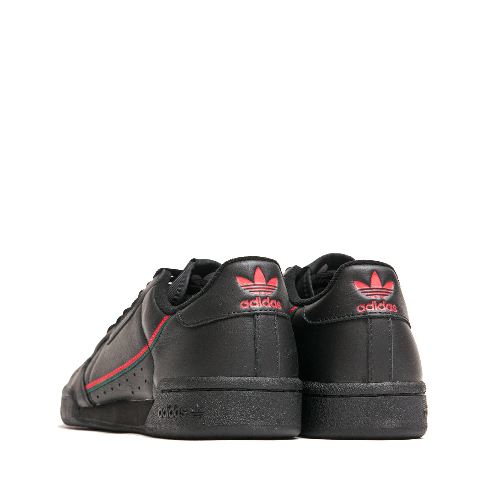 Adidas Continental 80 Core Black Scarlet Green at shoplostfound, back
