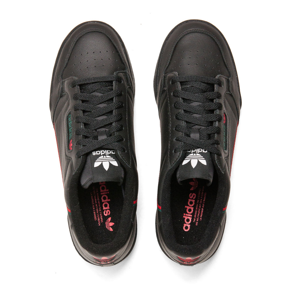 Adidas Continental 80 Core Black Scarlet Green at shoplostfound, top