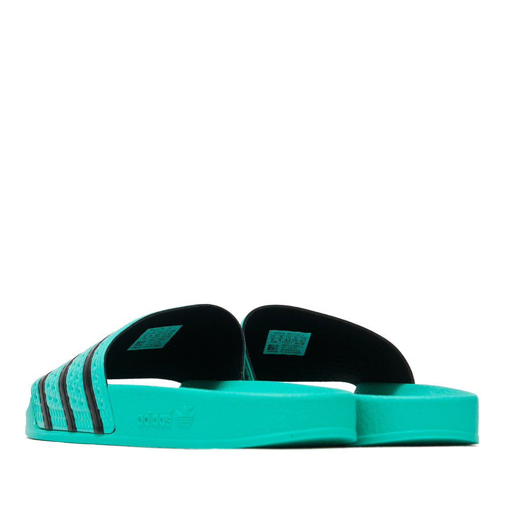 Adidas Originals Adilette Hi-Res Green/Core Black at shoplostfound, back