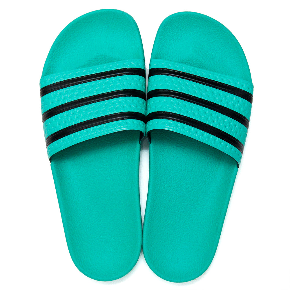 Adidas Originals Adilette Hi-Res Green/Core Black at shoplostfound, top