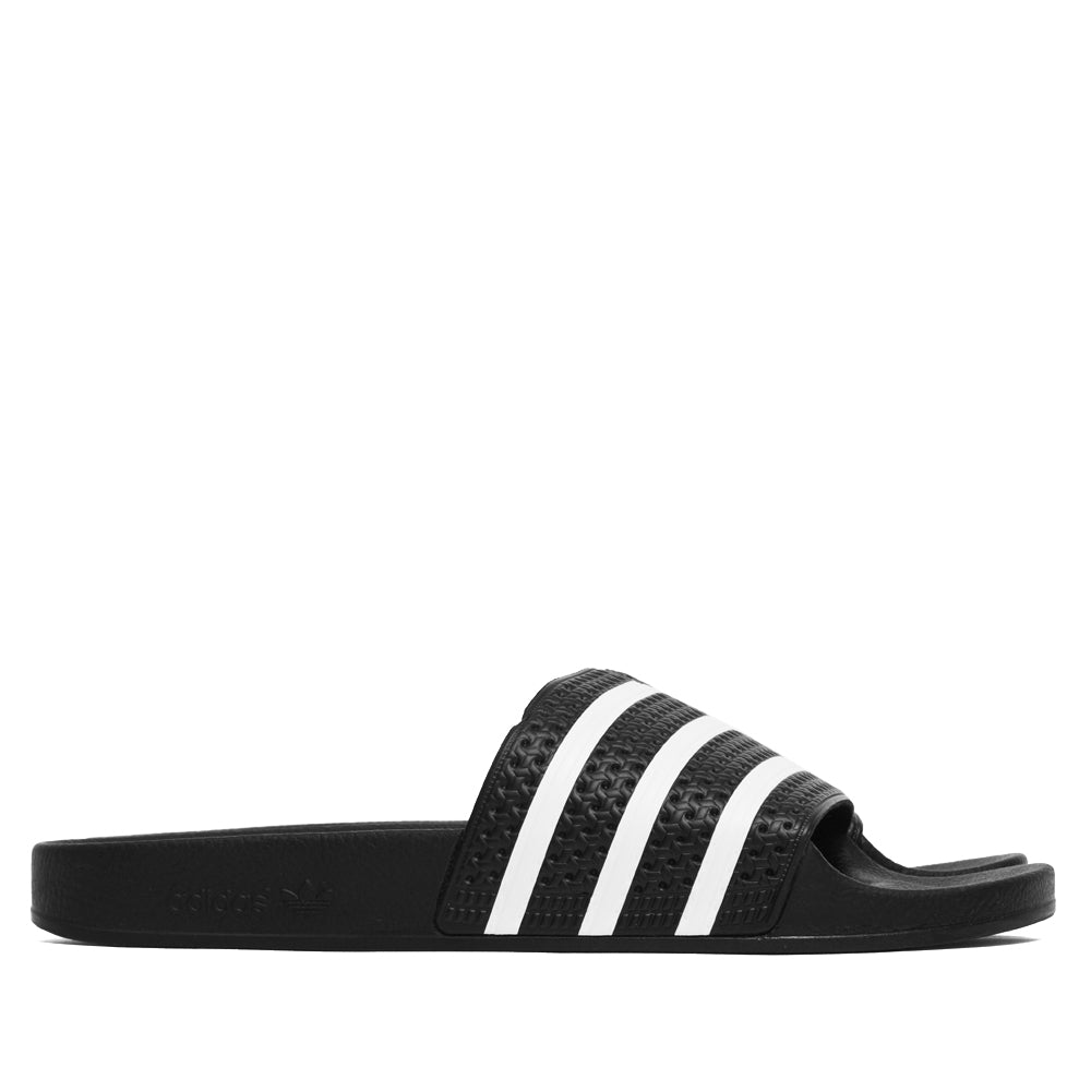 Adidas Originals Adilette Slides Black/White at shoplostfound, side