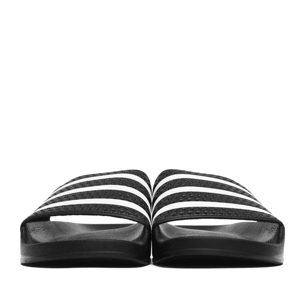 Adidas Originals Adilette Slides Black/White at shoplostfound, front