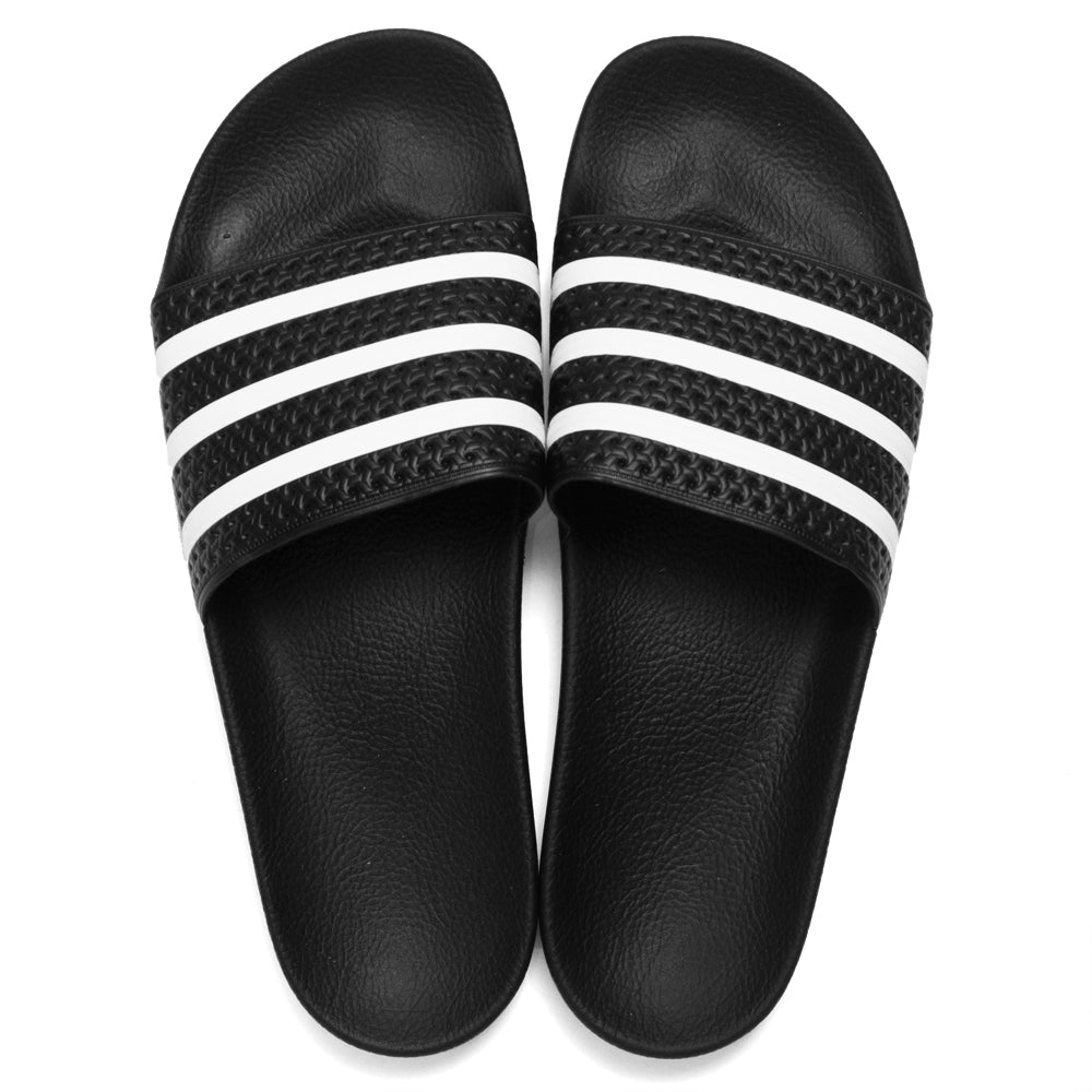 Adidas Originals Adilette Slides Black/White at shoplostfound, top