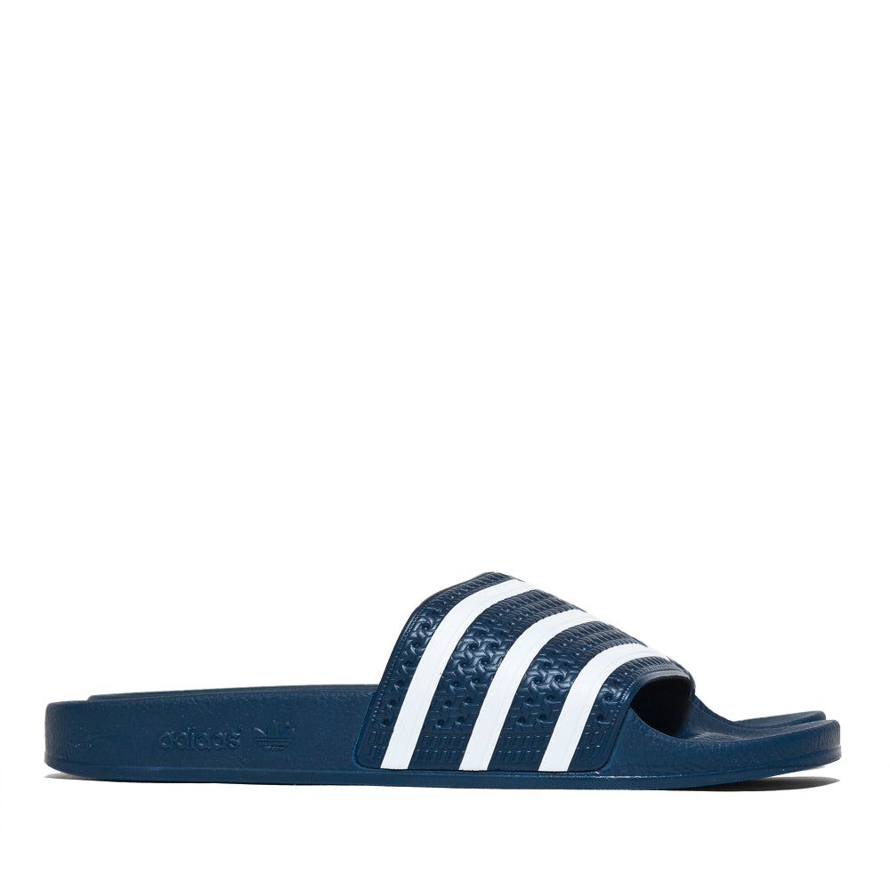 Adidas Originals Adilette Slides Navy at shoplostfound, side