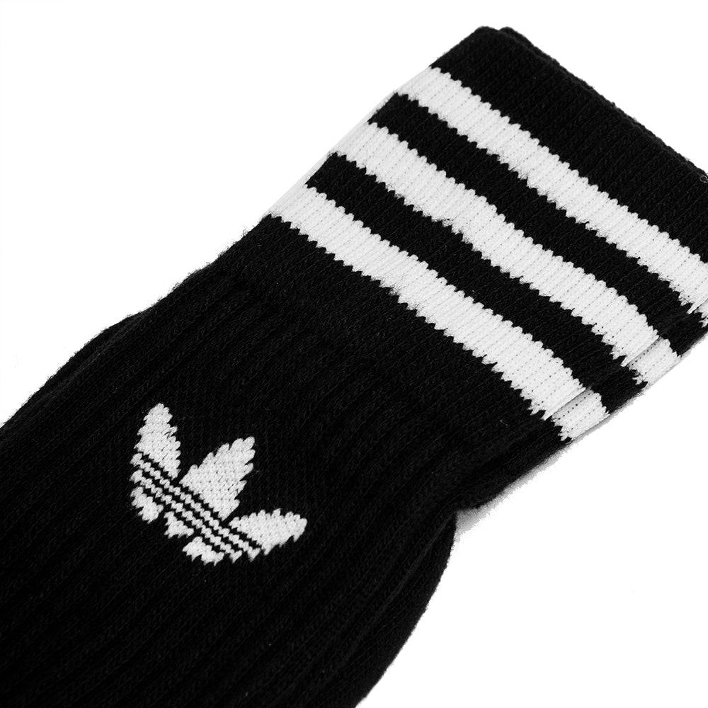 Adidas Originals Crew Socks 3 Pairs Black/White at shoplostfound, detail