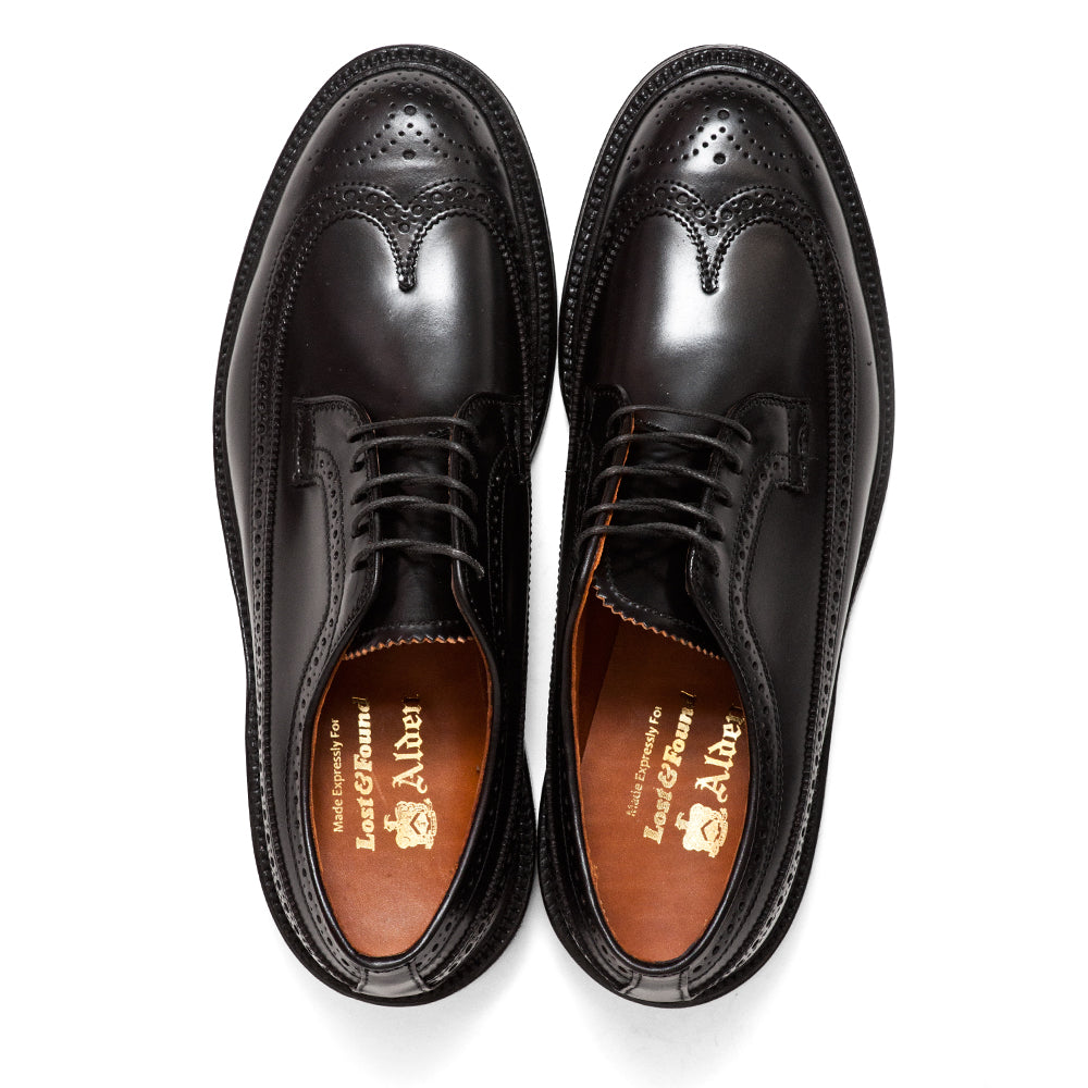 Alden Black Cordovan Longwing Blucher at shoplostfound, top