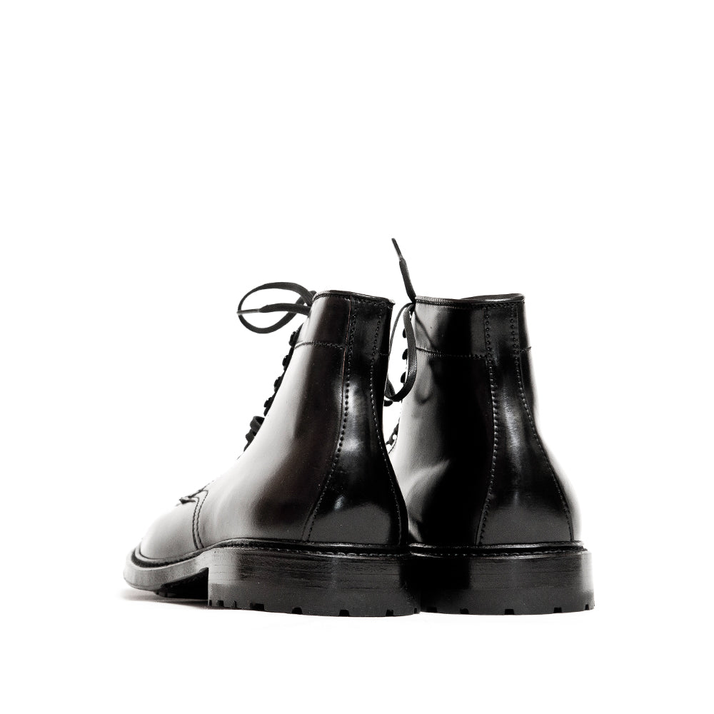 Alden Black Cordovan Tanker Boot with Commando Sole at shoplostfound, back