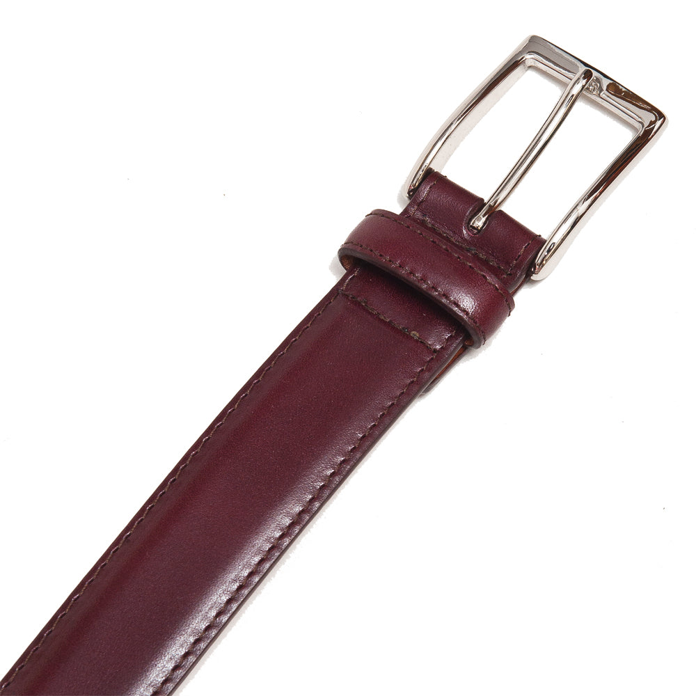 Alden Calf Leather Belt Burgundy at shoplostfound, detail
