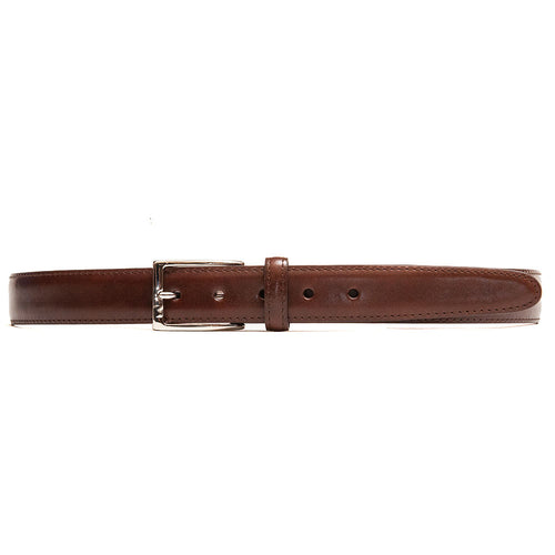 Alden Calf Leather Belt Dark Brown at shoplostfound, front