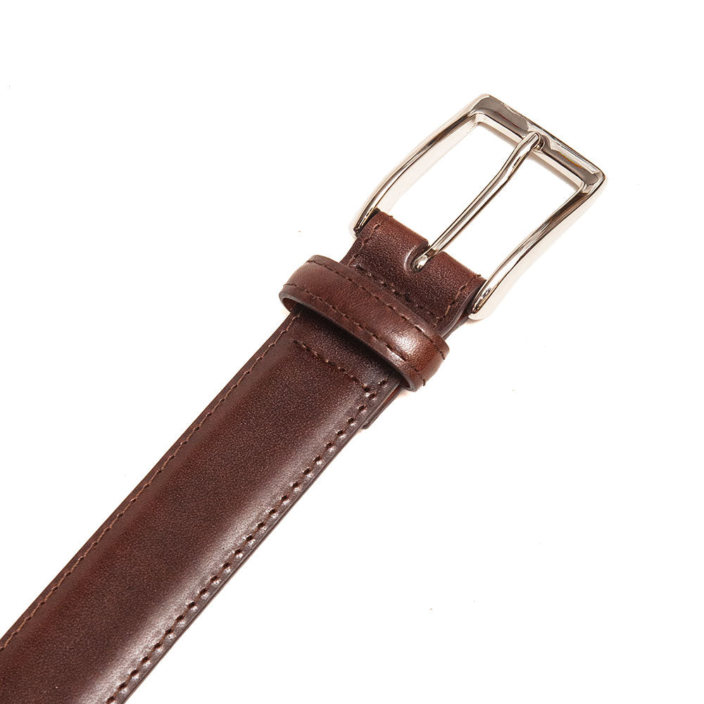 Alden Calf Leather Belt Dark Brown at shoplostfound, detail