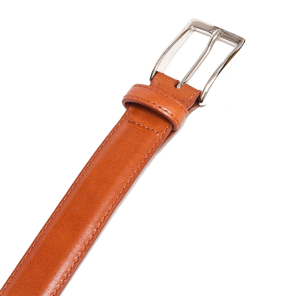 Alden Calf Leather Belt Tan at shoplostfound, detail