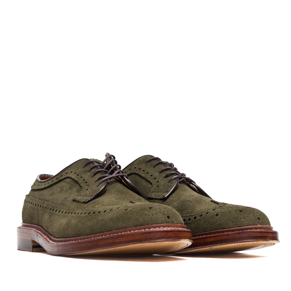 Alden Longwing Blucher 7501 in Olive Green Suede at shoplostfound, 45