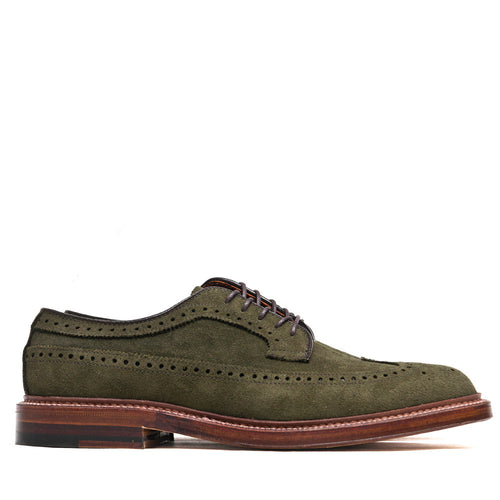 Alden Longwing Blucher 7501 in Olive Green Suede at shoplostfound, side