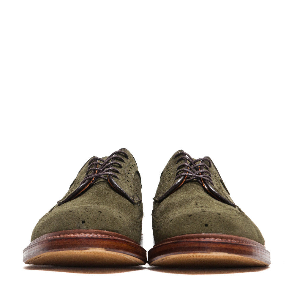 Alden Longwing Blucher 7501 in Olive Green Suede at shoplostfound, front