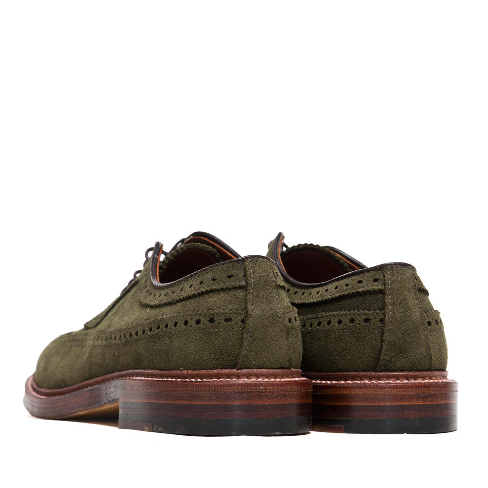 Alden Longwing Blucher 7501 in Olive Green Suede at shoplostfound, back
