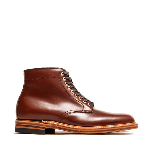 Alden Plain Toe Navy Blucher Boot Annonay Walnut Brown at shoplostfound, side